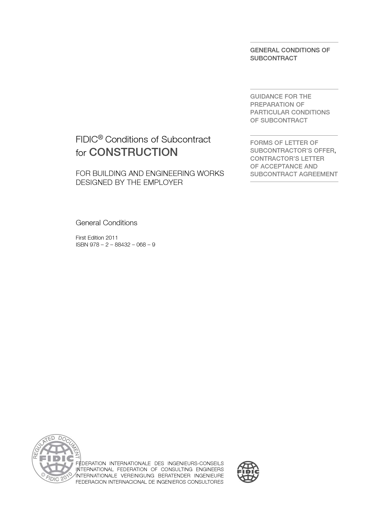 Construction 1999 Red Book Subcontract 1st Ed 2011