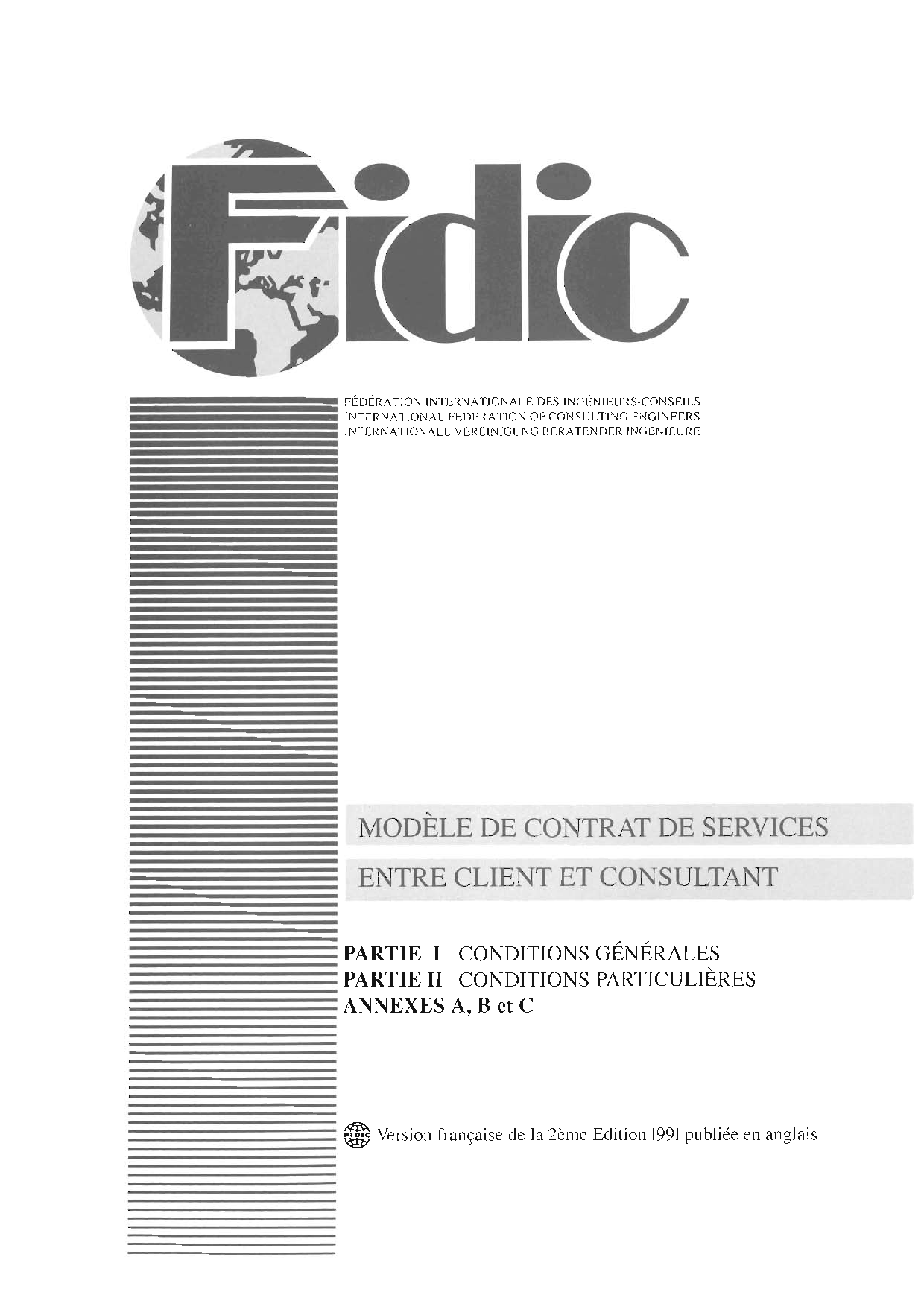 Fidic Client Consultant Model Services Agreement 2nd Ed 1991 White Book International Federation Of Consulting Engineers