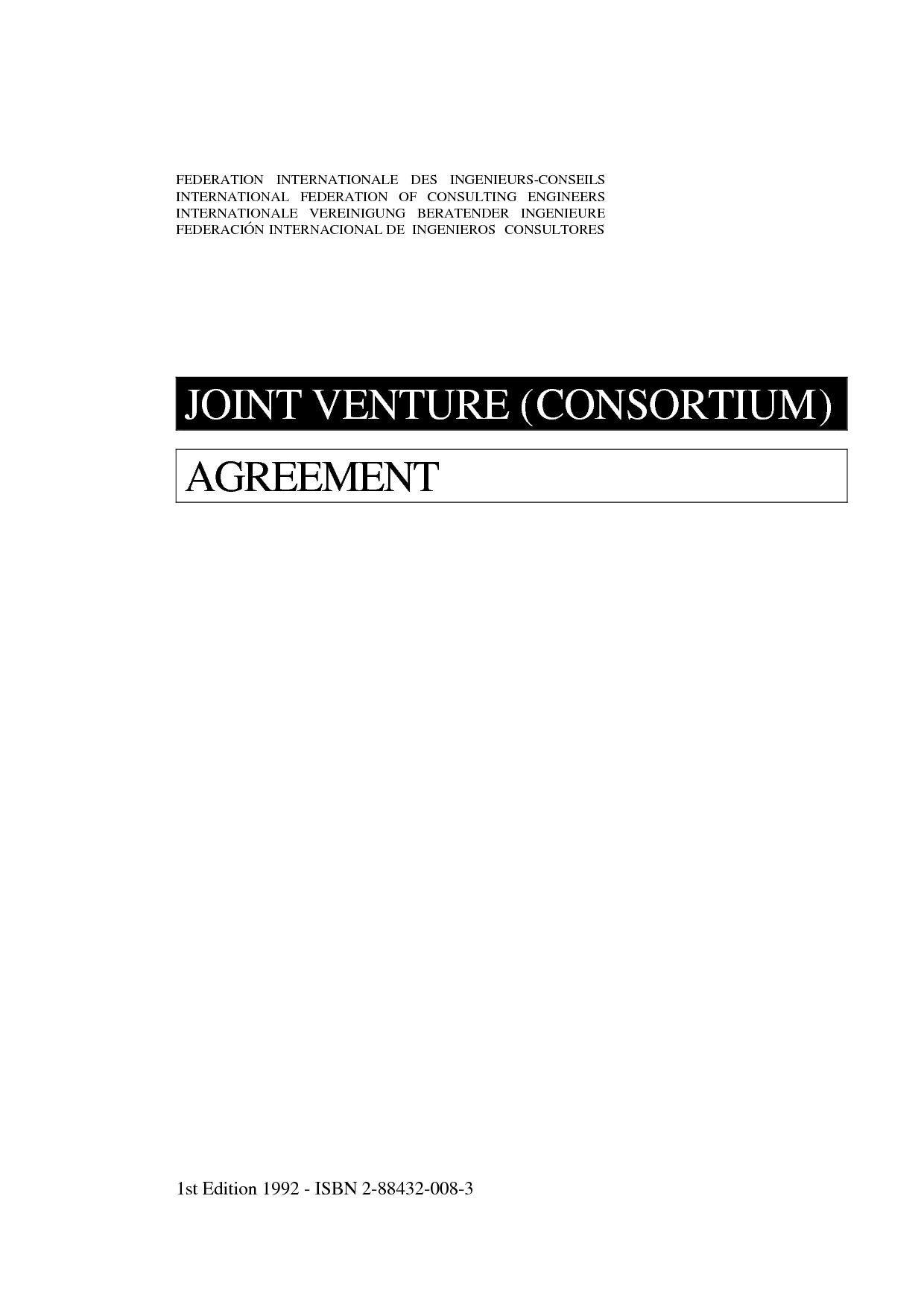 Joint Venture Agreement 1st Ed 1992 International Federation Of
