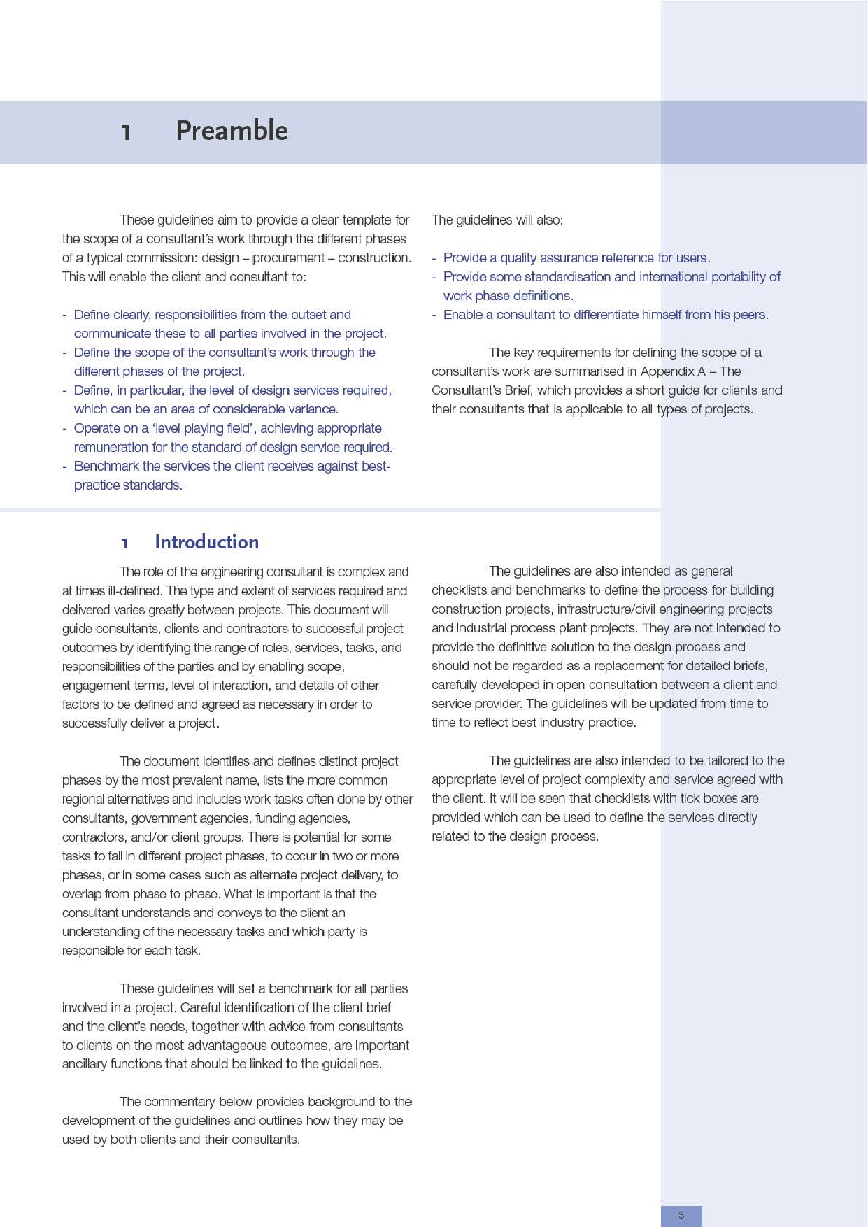 Definition of Services Guidelines (Building Construction