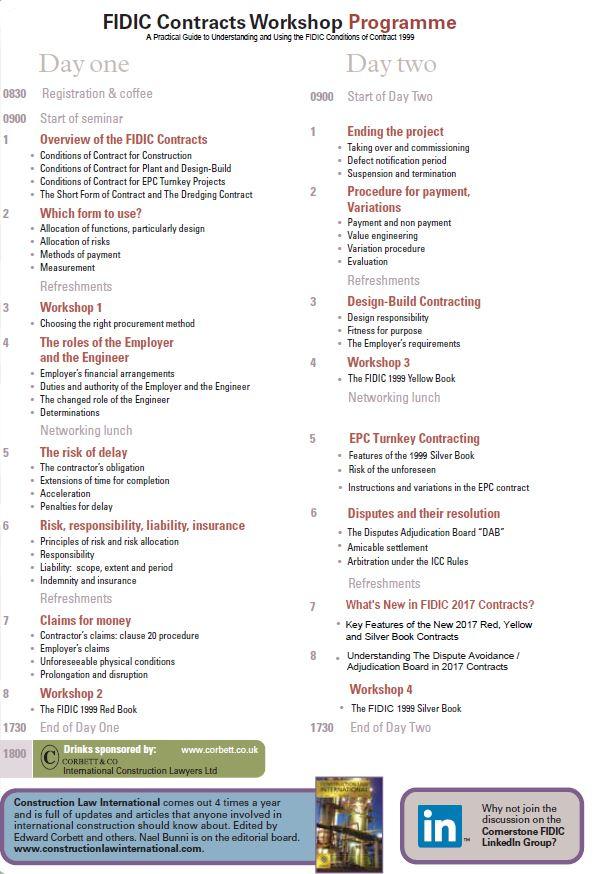 FIDIC Cornerstone Contracts course, Istanbul, Turkey, 12-13